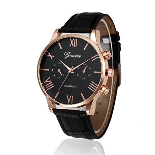 Price comparison product image Pocciol Watch, Retro Design Leather Soft Band Analog Alloy Quartz Wrist Watch (Black)