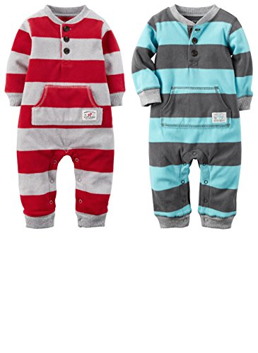 Carters Striped Fleece Coverall Jumpsuits