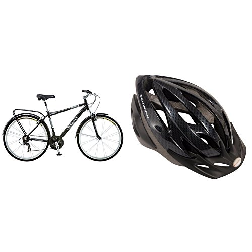 Schwinn Discover Men's Hybrid Bike (700C Wheels), Black with Schwinn Thrasher Adult Micro Bicycle black/grey Helmet Adult -