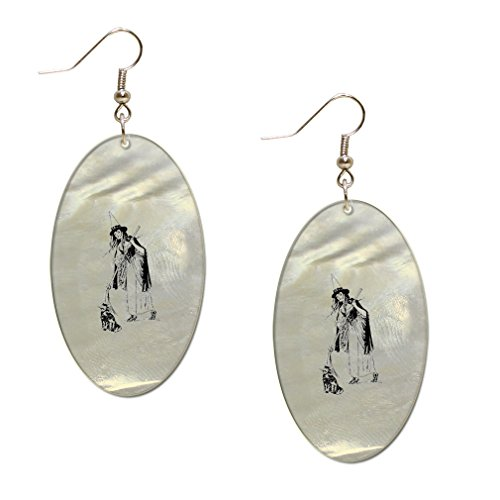 Halloween Costume Vintage Look Mother of Pearl Shell Earings Oval