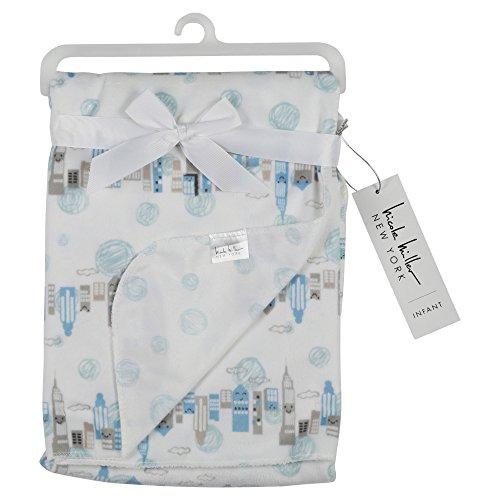 Nicole Miller New York Infant Boys Double Sided Mink Blanket, City Scape Print (Kids Stores New York)