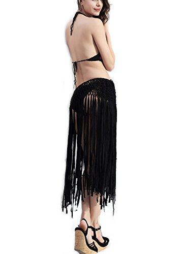 J.B.Y Women's Adjustable Waist Mini Skirt Tassel Fringe Beach Long Tassel Skirt (BK)