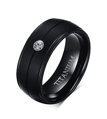Men's 8mm Titanium Cubic Zirconia Black Engagement Ring Size 8