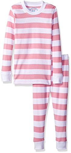 (Sara's Prints Girls' Big Unisex Kids All Cotton Long John Pajamas, Pink/White Stripe, 8)