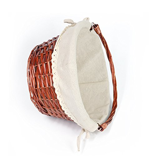 OYPEIP(TM)Father's Day Gift Basket Traditional Fashion Basket Kids Gift Basket Woven Willow Round Wicker Storage Basket With One Drop Down Handle Fabric Cotton Linen For Office, Bedroom, Closet, Toys by KRZIL (Image #6)