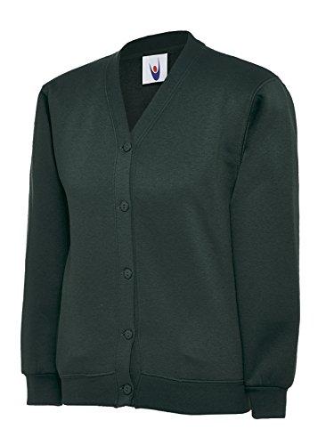 Infantil con forma de Plain para ropa de niños para la escuela Jersey kimono de chaqueta en la parte superior y bolsillos laterales en la etiqueta con nombre verde oscuro