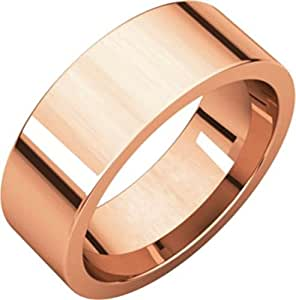 7mm Flat Comfort Fit Wedding Band in 14k Rose Gold - Size 5.5