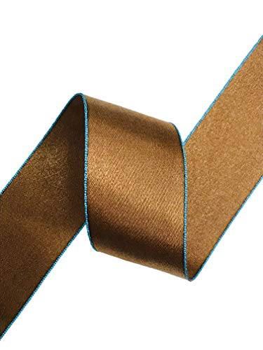 SHINDO Double Face Satin Ribbon, Chocolate Brown with Blue Edge, 38mm (1 1/2