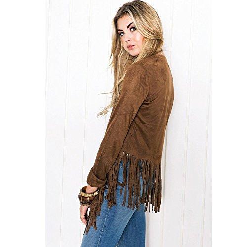 Brown Cappotto spacco in Abbigliamento inverno hippie maglia unita casual Manica Cardigan lungo tinta con Irregolare elegante Lunga vintage moda Ragazza Autunno Outwear donna cardigan top Chic S1OA44