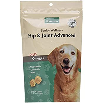 NaturVet - Senior Wellness Hip & Joint Advanced Plus Omegas - Help Support Your Pet's Healthy Hip & Joint Function - Supports Joints, Cartilage & Connective Tissues - 120 Soft Chews