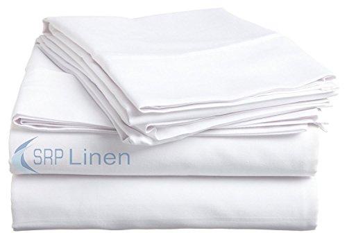 SRP Linen Bedding Hotel Collection 800 Thread Count 100% Egyptian Cotton 4PC Sheet Set 15'' Deep Pocket (Queen, White) (800 Tc Sheets Queen)
