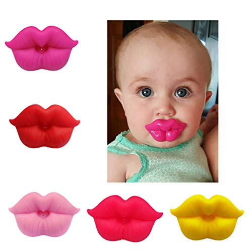 Baby Pacifiers 0-6 Months - Vimbo 5 Pack Cute Pacifier Lovely Mommy's Touch Pink Kiss Lips Pacifiers for 0m-3 Years Old Babies