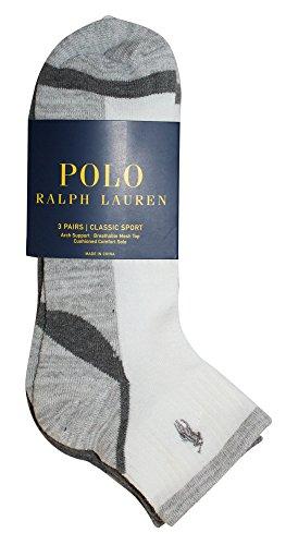 Mens 3 Stripe Quarter Sock - Polo Ralph Lauren 3-Pack Athletic Feed Stripe Sole Quarter Sock Polo Embroidery White Assorted