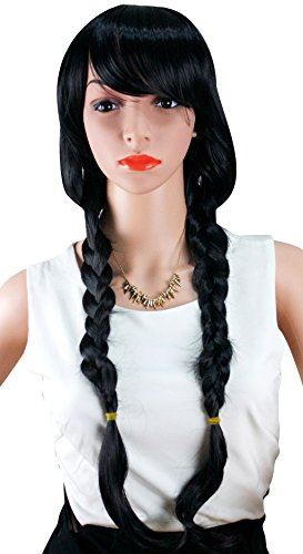 WELLKAGE Free Hair Cap +Movie Cosplay Party Wigs Black Braid (Braid Wigs)