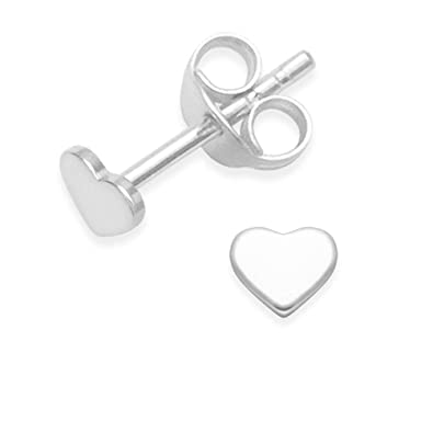 966b0ff1f Heather Needham Sterling Silver Heart Earrings - small flat Heart Stud  Earrings - SIZE: small 4mm. Much smaller than shown - Gift Boxed 5010:  Amazon.co.uk: ...