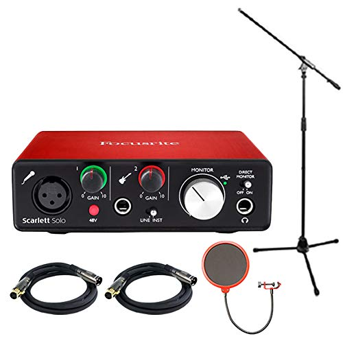 Cables Series Audio Sapphire Stereo - Focusrite Scarlett Solo USB Audio Interface (2nd Generation) Bundle with 2 XLR Cables, Microphone Stand, Wind Screen