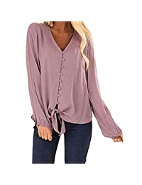 ZQISHMAO Womens Loose Blouse V Neck Button Down T Shirts Tie Front Knot Casual Tops