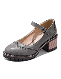 CYBLING Women's Ankle Strap Mary Jane Pumps Vintage Round Toe Chunky Block Heels Platform Brogue Oxford Shoes