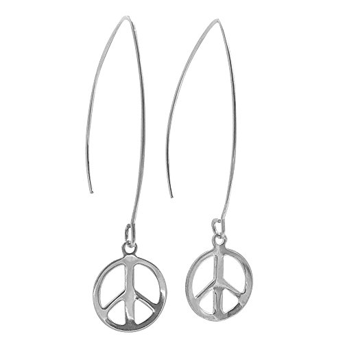 Tone Peace Sign - Peace Sign Threader Charm Earrings in Silver Tone and Stainless Steel
