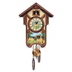 Linda Picken's Playful Pugs Wooden Cuckoo Clock - By The Bradford Exchange