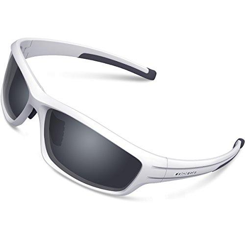White Mens Sunglasses - TOREGE Polarized Sports Sunglasses for Man Women Cycling Running Fishing Golf TR90 Unbreakable Frame TR034 (White&Black Tips&Gray Lens)