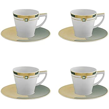 Vista Alegre Porcelain Emerald Coffee Cup with Saucer - Set of 4
