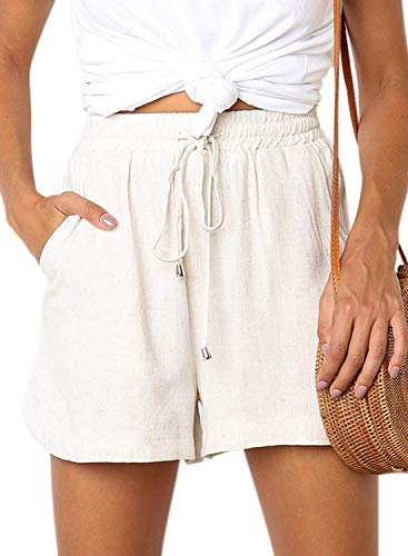 Dokotoo Womens Casual Fashion Female Solid Drawstring Solid Elastic Waist Comfy Summer Cotton Linen Shorts Summer Plain Beach Linen Shorts Pockets White Small from Dokotoo