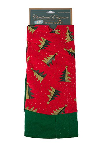 - Christmas Red and Green Felt Tree Skirt - 48 Inch