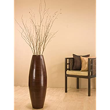 GreenFloralCrafts 36 in. Bamboo Cylinder Floor Vase & Birch Branches, Cocoa Brown