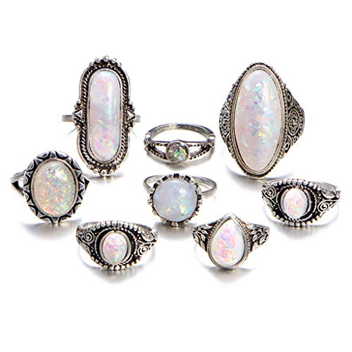 - SMUOBT 8PCS Kunckle Ring Set Bohemian Retro Vintage Crystal Stackable Carving Flower Rings for Women Girl,Style 4