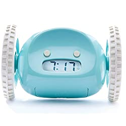 Clocky, the Original Runaway Alarm Clock on Wheels: Get Out of Bed and Wake Up on Time with Programmable Snooze | Jumps Off Night Stand and Rolls Away (Extra Loud for Heavy Sleepers), Aqua