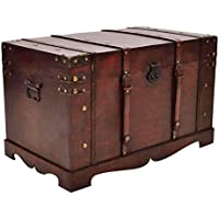 vidaXL Large Wooden Treasure Storage Thunk Blanket Steamer Chest Vintage Antique Style
