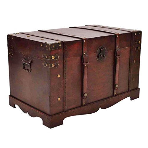 vidaXL Large Wooden Treasure Storage Thunk Blanket Steamer Chest Vintage Antique (Big Treasure Chest)