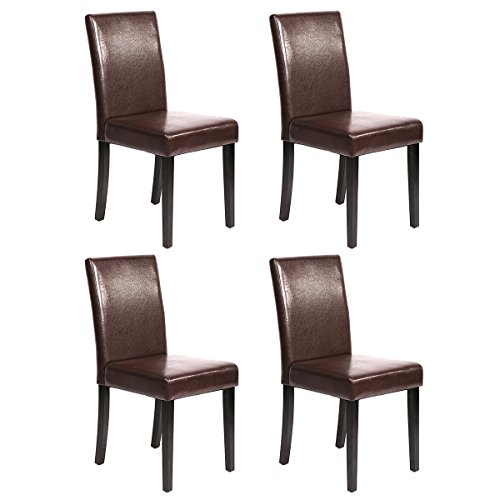 Urban Style Solid Wood Leatherette Padded Parson Dining Chairs Set Of 2 (4, Brown) (Dining Chair Sets)