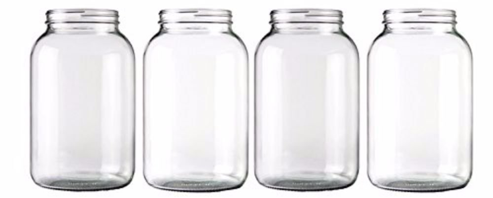 Home Brew Ohio One gallon Wide Mouth Glass Jar-Set of 4, Clear