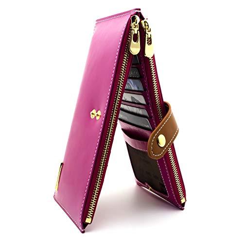 ANDOILT Women's Genuine Leather Wallet RFID Blocking Credit Card Holder Zipper Purse Cell Phone Handbag Rose-Red