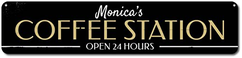 Personalized Coffee Station Open 24 Hours Kitchen Sign   Quality Aluminum Ensa1001775   9 X36  Quality Aluminum Sign