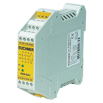 EUCHNER ESM-BA301 Relay, Safety, 3PST-NO, 250VAC, 8A; Product Range:ESM Series; Contact Configuration:3PST-NO; Coil Voltage:24VDC; Contact Current:8A; Relay MOUNTING:DI