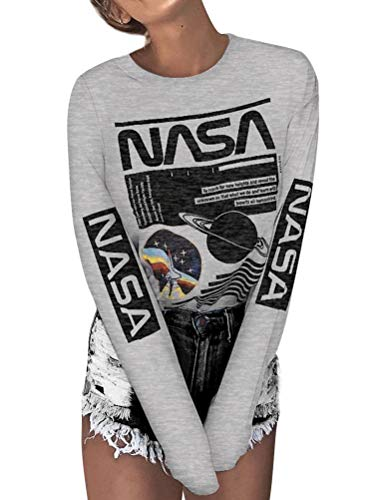 (ZXH Women Long Sleeve White NASA Letter Print NASA Shirt Pullover Shirt (Make Sure The Item is Sold by ZhangXH) (L, Grey))
