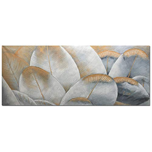 Yotree Paintings,24x60 Inch Gray Gold Dream Feather Oil Hand Painting 3D Hand-Painted On Canvas Abstract Artwork Art Wall Decoration Abstract Painting Large Size (Without Frame) ()