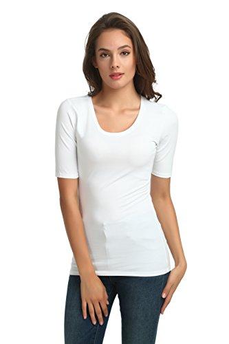 zhAjh Womens Cotton Spandex Mercerized Scoopneck Half Sleeve Tee T-Shirt (White,Small)