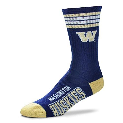 For Bare Feet NCAA 4 Stripe Deuce Crew Men Socks-Washington (Washington University Watch)