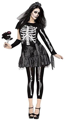Fun World Women's Skeleton Bride Costume, Black, (Skeleton Bride Costumes)