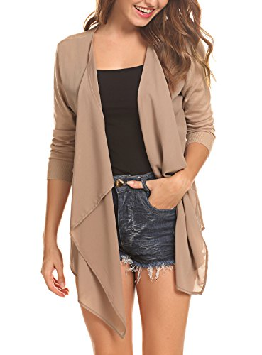 Abollria Women's Open Front Casual Solid Comfy Light Short Sleeve Chiffon Cardigan,Apricot Medium from Abollria