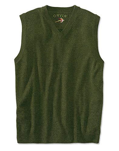 Orvis Merino V-neck Vest Pullover, Olive, Medium