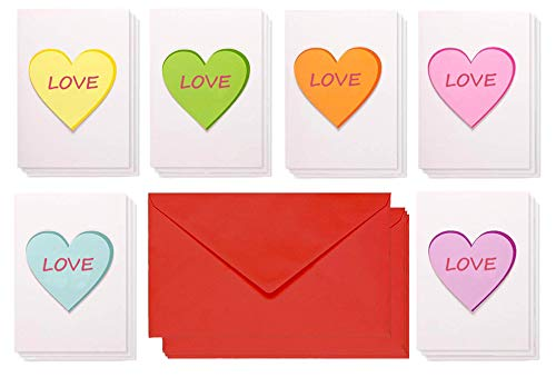 12 - Valentine's Day Card Pack - Happy Valentine's Day Greeting Cards - Handmade Love Cards with 6 varied designs of hearts - Romantic Greeting Cards for Valentine's Day, Anniversaries -