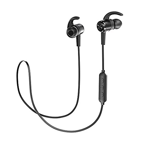 Bluetooth Headphones, TaoTronics Wireless Earbuds Sweatproof Sport Earphones, Lightweight and Fast Pairing(Comfortable Elastic Silicon Covering, CVC 6.0 Noise Cancelling Mic, 8 Hours (Bluetooth Headset With Ear Buds)