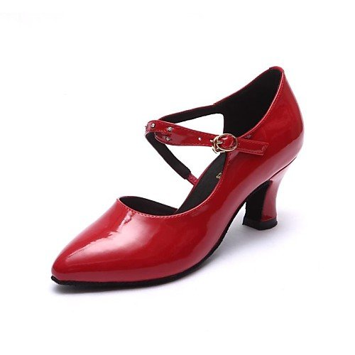 Women's Q T Red Dance Shoes Chunky Red Heel T Modern Leather Patent SERwqM5
