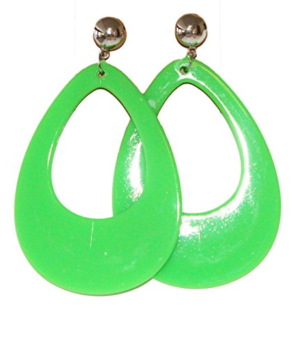 Neon Nation Circular Oval Earring w/Silver Top 1980s Costume Party (Green)