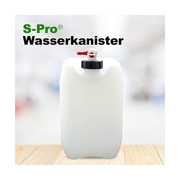 41UCGTXQ4mL S-Pro Wasserkanister Trinkwasser mit Hahn, Lebensmittelecht, 10l für Haus, Garten und Camping Wasserbehälter, leer